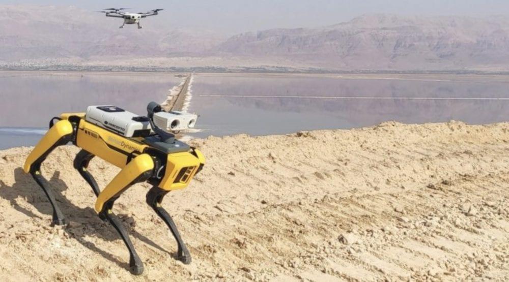 Робот-собака Spot будет интегрирована  с израильским дроном Percepto.