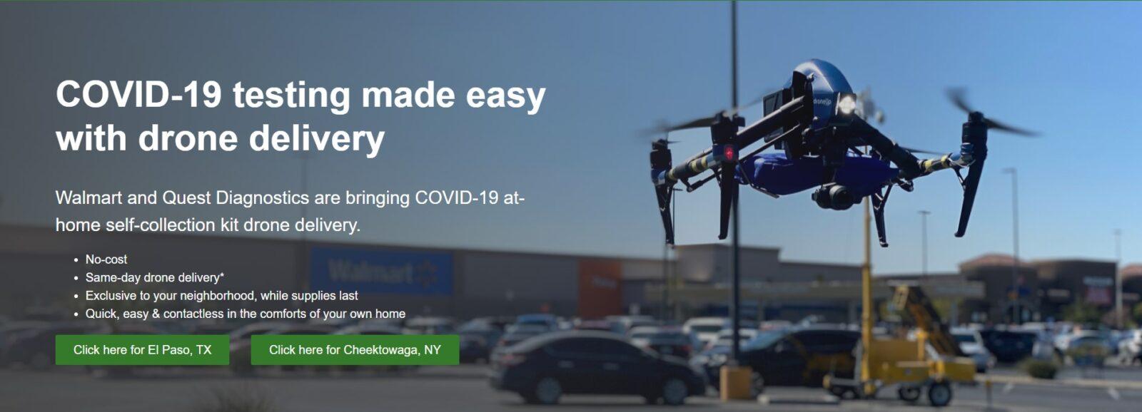 Дроны Walmart доставляют тесты на Covid-19.