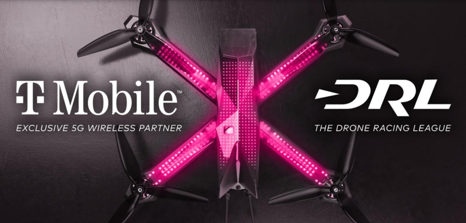 T-Mobile и Drone Racing League планируют транслировать видео с гоночных квадрокоптеров через сети 5G.