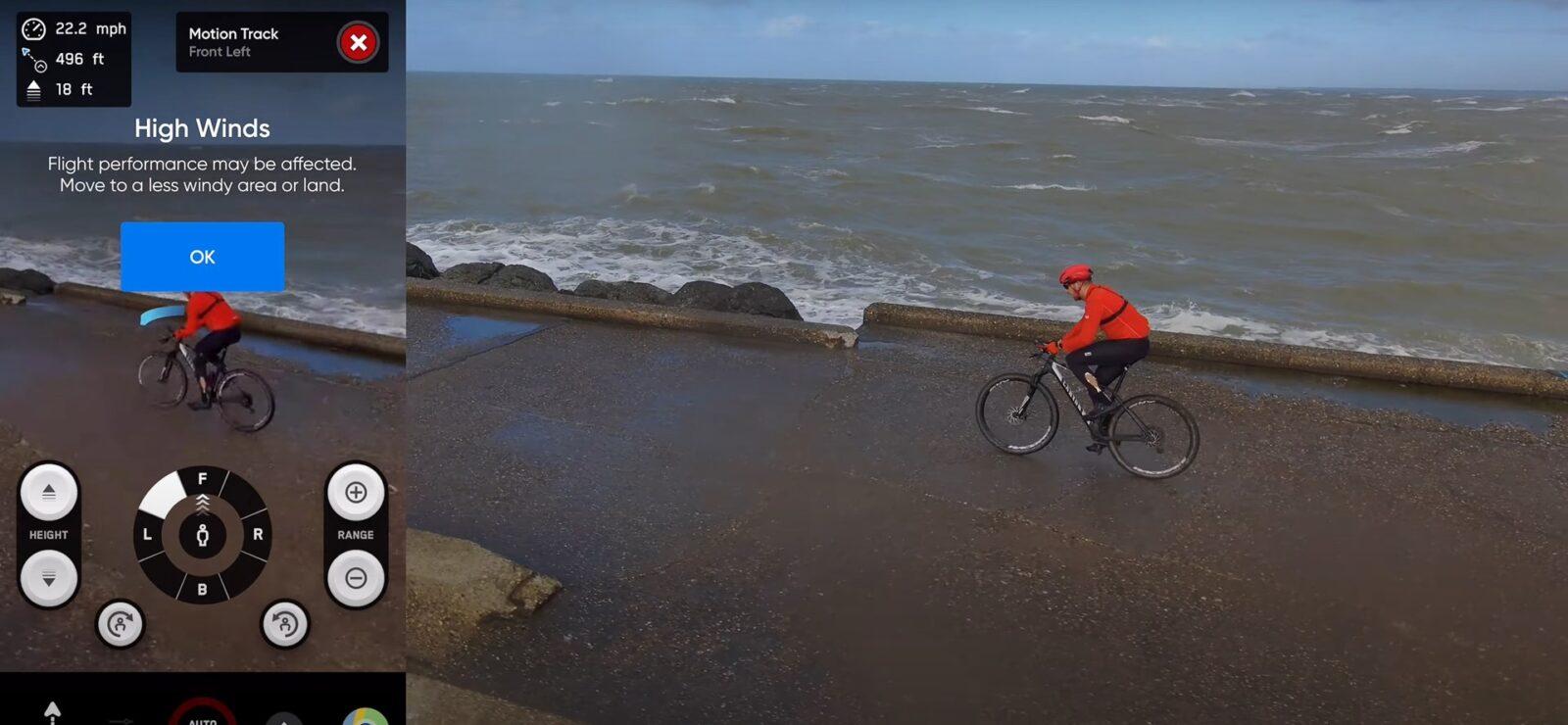 Квадрокоптер Skydio 2 борется с сильным ветром, дождем и брызгами.