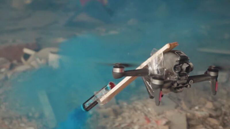 Уничтожение квадрокоптера DJI FPV